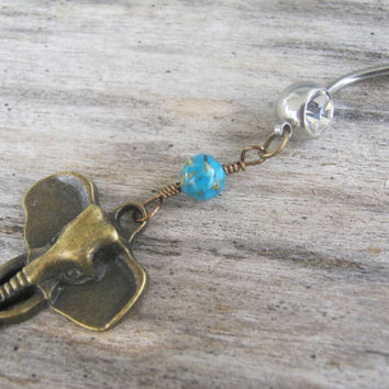 Turquoise Elephant Belly Ring, BRONZE Belly Button Ring, Birthstone Navel Piercing, India Hindu Body Jewelry, Buddhist Elephant Body Jewelry