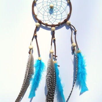 Boho brown and turquoise dream catcher with wooden beads - bedroom wall hanging - home decor