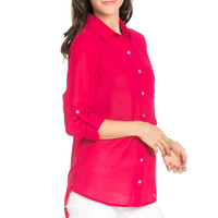 Roll Up Sleeve Button Down Fuchsia Chiffon Blouse