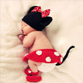 Newborn Girl Baby Hat+Skirt+Diaper Cover+Shoes Crochet Knit Minnie Mouse 4pcs 0-12 Months (Color Red) [8362705479]
