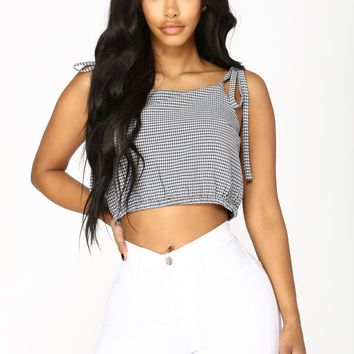 Aubree Crop Top - Navy/White