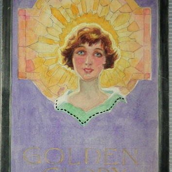 Original 1920s Art deco Painting Pears Soap Advertising Illustration 'Glory' Flapper in Pastel and Watercolour