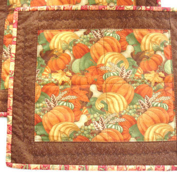 Fall Harvest Pumpkin Place Mats Quilts Set of 2