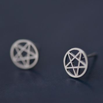 925 Sterling Silver Earrings Hollow Pentagram Star Stud Earrings