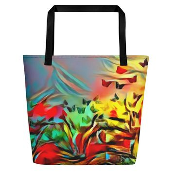 All-over-print Beach Bag - Colorful butterflies at meadow, nature themed abstract pattern