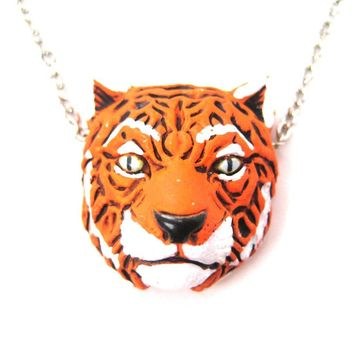Realistic Bengal Tiger Head Shaped Porcelain Ceramic Animal Pendant Necklace | Handmade