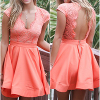 Prom Queen Coral Lace Cocktail Dress
