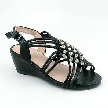 Girl's Black Shimmery Wedge Sandal with Clear Rhinestones