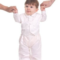 The Children's Hour White Boys 3-Piece Christening Suit and Vest