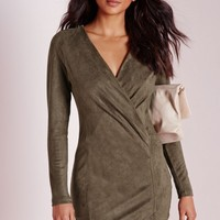 Missguided - Faux Suede Long Sleeve Wrap Over Dress Khaki