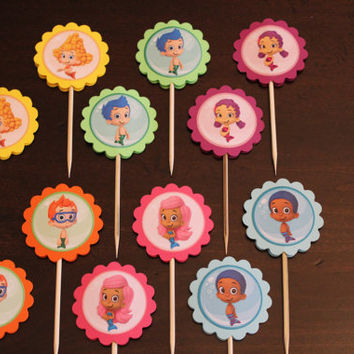 Set of 12 Bubble Guppies Cupcake Toppers / Picks- Party Favors Gifts Under the Sea