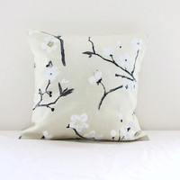Monochrome pillow cover, blossom in gold and black, cherry blossom cushion cover, Prestigious textiles Emi, choose size, handmade in the UK