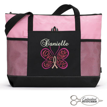 Cancer Awareness, Chemo Personalized  Zippered Tote Bag with Mesh Pockets