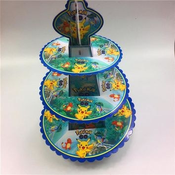 Go Pikachu 3tier cake stand baby shower supplies kids birthday party decoration cupcake stand hold 24 cupcakes candy barKawaii Pokemon go  AT_89_9