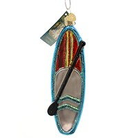 Old World Christmas STAND UP PADDLE BOARD Glass Glass Ornament Surf 46056 Red