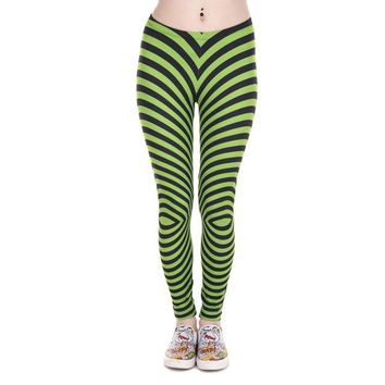 Green With Black Stripes Printed Aztec Leggings