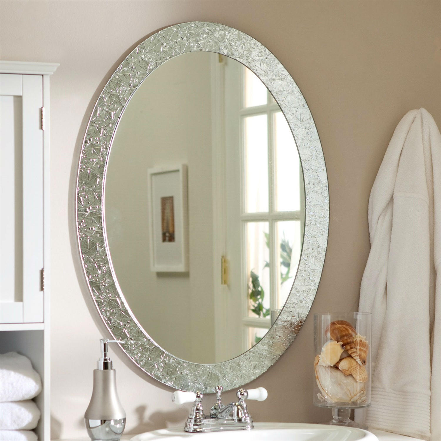 Oval Mirrors Bathroom Oval Frame Less Bathroom Vanity Wall From Hearts Attic Decor