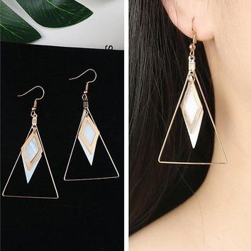 ES179 Big Triangle Dangle Earrings For Women Grometric Drop Brincos Bijoux boucle d'oreille Shell Fashion Jewelry Earring