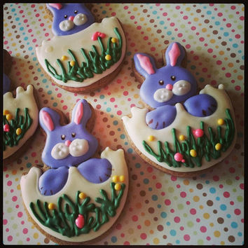 Easter eggs with Easter bunnies, decorated gingerbread Easter cookies