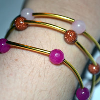 Three Bangle Bracelets, Goldstone Beads Light Pink Gemstones and Dark Pink Facet Gemstones