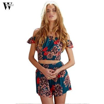 ONETOW WYHHCJ 2017Off shoulder Print elegant jumpsuit romper White Strapless backless  overalls Sexy summer beach playsuit women outfit