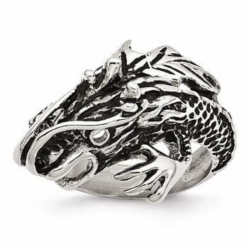 Men's Stainless Steel Antiqued Dragon Ring
