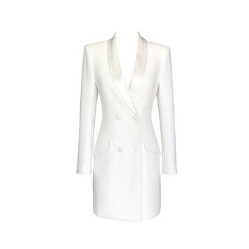 It's Tempting White Long Sleeve Satin Lapel V Neck Button Bodycon Bandage Blazer Jacket Mini Dress