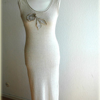 Natural knitting dress with linen application by malowanelnem