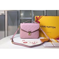 LV 2019 new classic letter embossed wild fashion women's shoulder diagonal package Pink
