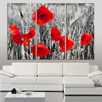 Large Wall Art Red Poppy Canvas Print Ready to Hang 3 Panels Stretched on Deep 3cm Frame