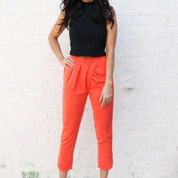 Pleat & Tuck Front Tailored Cigarette Trousers in Orange