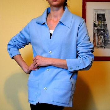 Blue Wool Sweater Vintage Cardigan Pendleton Baby Blue Button Up Super Soft and Stretchy