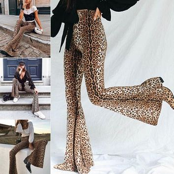 Hippie Design High Waist Women Leopard Pants Wide Leg Long Flare Bell Bottom Trouser Fashion Ladies Autumn Pants S M L USA
