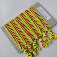 softball hair ties, set of 6 hairties, FOE knot elastic ponytail holders, fluorescent with red stitches print, neon yellow sports hair ties