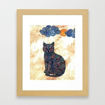 My blue cat. Art Print by Juliagrifol Designs