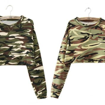 Long Camouflage Crops Sweaters