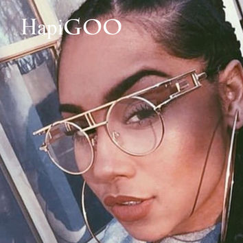 HipiGOO 2016 New Fashion Round Steampunk Sunglasses Women Vintage Brand Designer Men Gothic Steam Punk Mirror Clear Sun Glasses