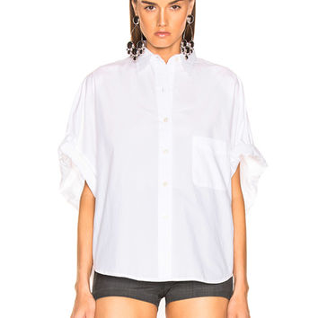 R13 Oversized Rolled Sleeve Shirt in White | FWRD