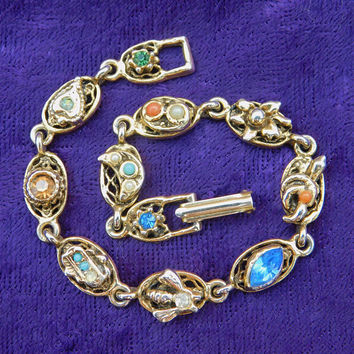 Goldette Victorian Revival Bracelet ∙ Jeweled Charms ∙ Snake ∙ Bee ∙ Crescent Moon ∙ Citrine, Sapphire, Emerald, and Clear Rhinestones