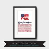 United States Of America Wall Art, American Flag, Song Lyrics, Professionally Designed, Instant Digital Download, 8x10
