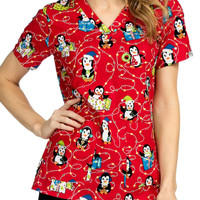Med Couture Anna All Lit Up V-neck Print Scrub Tops