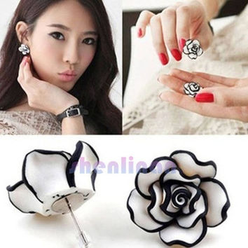 2015 new fashion hot sale  Arrival  Elegant  Cute Temperament Women Ladies Girls Rose Flower Stud Earrings Elegant Jewelry Blue/Fuchsia/White/Yellow 4 Colors EAR-0058 = 1958413508