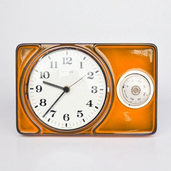 70's Ceramic Wall Clock with Eggtimer / Mid Century  Kitchen Clock Timer / Hettic Germany / Orange & Blue