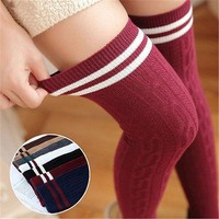 2017 Fashion Women Knit Cotton Over The Knee Long Socks Striped Thigh High Socks New