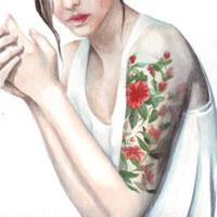 Original watercolor Tattoos and Vest Portrait painting art