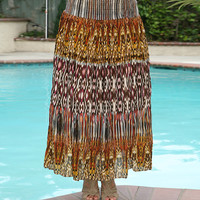 Anandas Collection Orange & Yellow Ikat Maxi Skirt - Plus | zulily