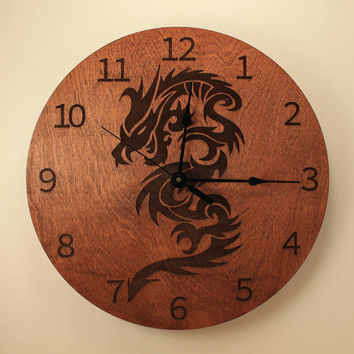 Dragon laser cut clock Wood clock Wall clock Wooden wall clock Animal clock Mythical creature Legendary dragon design Fantasy clock