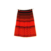 Orange And Black Pleated Wool Blend Skirt, Warm Vintage Skirt, A-line Knee Length Skirt With Lining