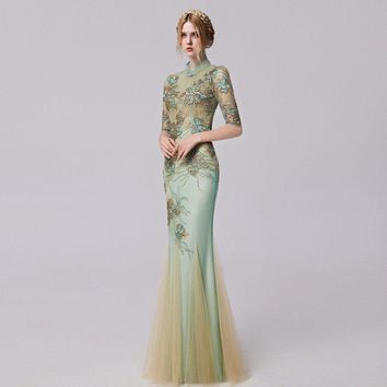 Embroidered Appliques Mermaid Prom dress