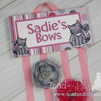 HAIR BOW HOLDER Personalized Pink And Grey Cats HairBow Clips Organizer HB0157